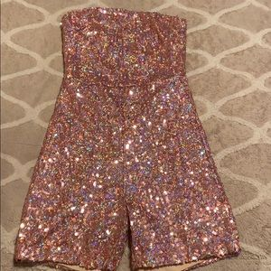 Sequined Strapless Playsuit Jumpsuit Romper